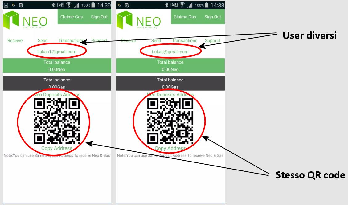 In questa immagine si vedono due account diversi a cui viene assegnato il medesimo QR code (fonte: Lukas Stefanko)