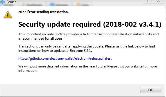 Il messaggio di errore che invita l'utente a scaricare una nuova versione del wallet